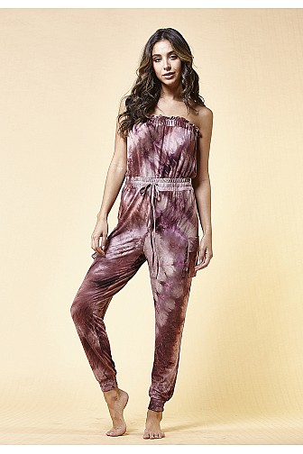 TIE DYE STRETCH TUBE JUMPSUIT