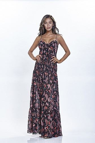 PRESLEY PRINT  FRONT TIE SMOCKED MAXI DRESS