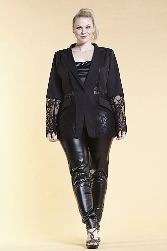 SOLID LONG SLEEVE FRONT LACE COLLAR JACKET