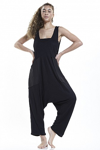 KNIT SOLID CUTE BIG POCKET JUMPSUIT W/ INNER TOP